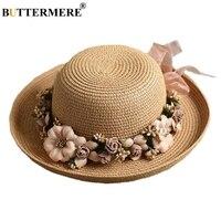 BUTTERMERE Flower Sun Hat Ladies Elegant Stylish Beach Hat Fedora Womens Summer Spring Hawaiian Korean Style