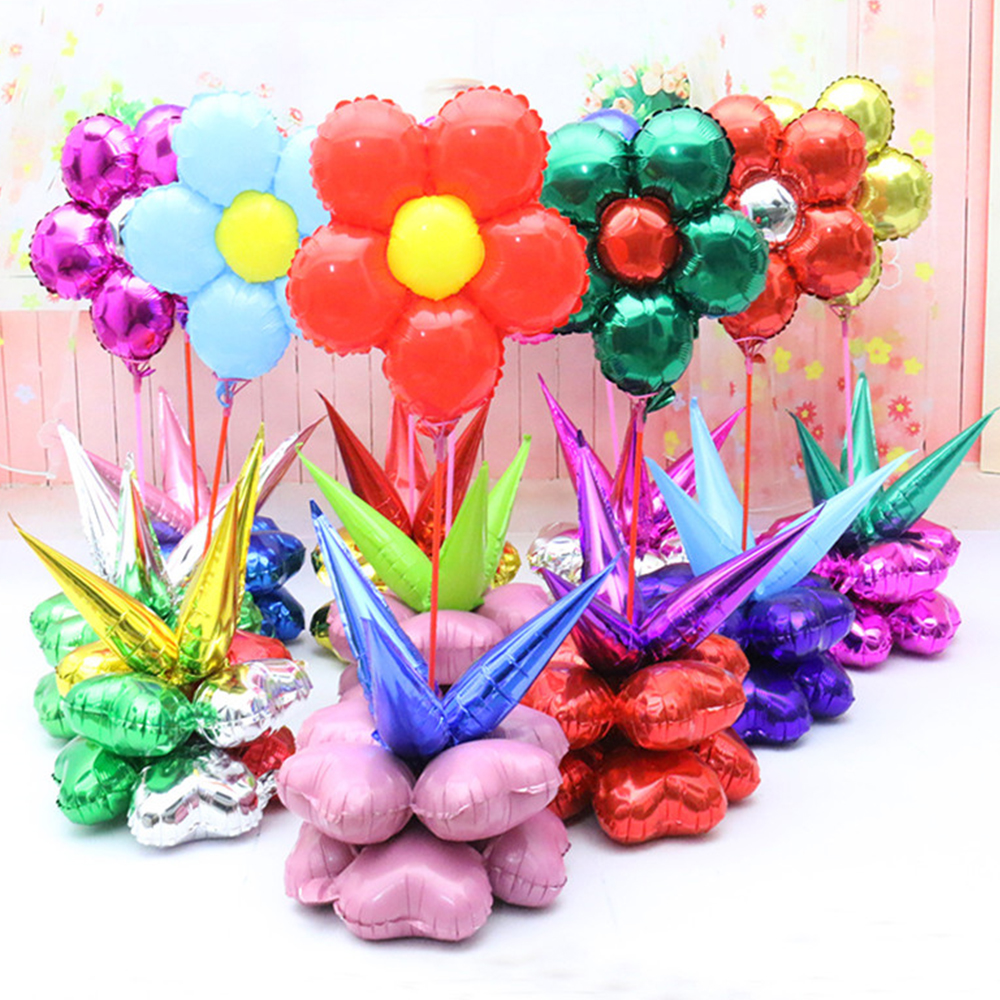 7Pcs/set Cartoon Plum Blossom Balloon Happy Birthday Balloons Inlatable Ballon Wedding Party Decorations Foil Balloons