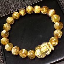 Certificate Natural Gold Rutilated Quartz Crystal Titanium Woman Man Wealthy Pi Xiu Round Beads Bracelet 10.5mm AAAAA