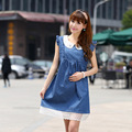 2016 New Denim Dress for Pregnant Woman Summer Solid Blue with Lace Pregnant Women's Dresses Maternity Clothing Outerwear, HB020