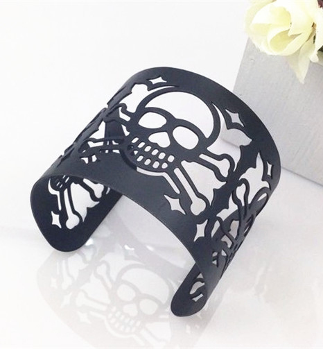 Cuff Bangle Geometry Skull Opening Metal Bracelet