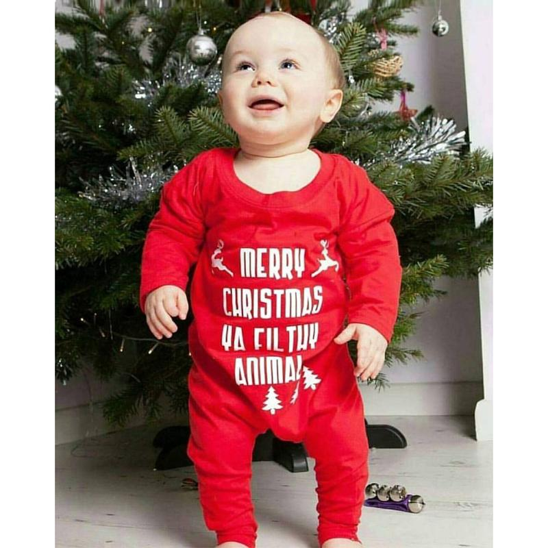 Зимняя одежда на Рождество для малышей новорожденных Обувь для девочек Обувь для мальчиков с принтом букв милые Комбинезоны для малышек кр... ...