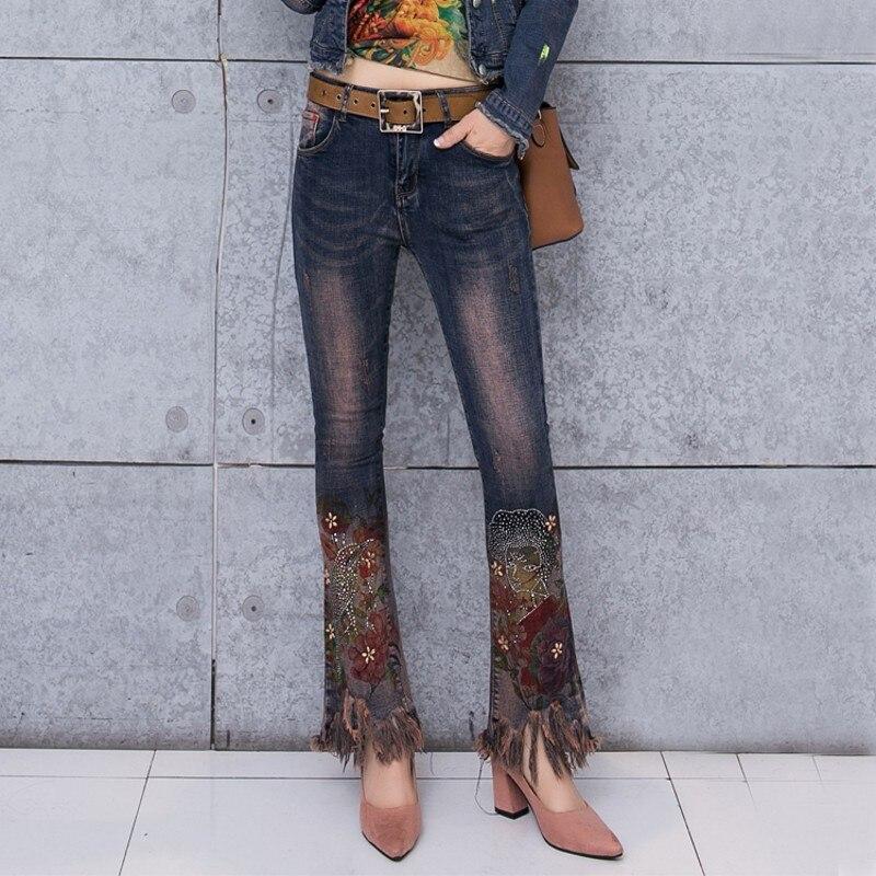 Pants Pièces Deux De Chic Pantalon Tops Veste Ensemble Femmes Denim Manteau tops Costume Mince Poitrine Unique Court Peint Diamant Imprimé Jeans Mode ZqC8qnwRf