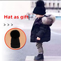 HAT AS GIFT winter boy girl Down jackets BOY baby girl baby clothes 2016 new thick coat outer wear hooded fur collar parka