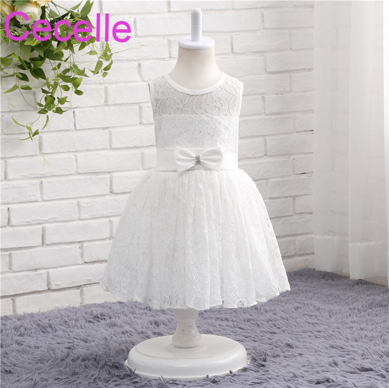 Ivory White Lace A-line Short Flower Girls Dress For Wedding ...