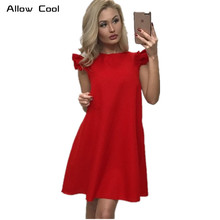 2017 Summer Dress Women Fashion Butterfly Sleeve O-Neck Plus Size Party Loose Casual Beach Dresses Cheap Clothes China Vestido
