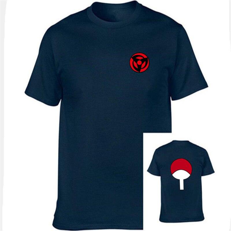 22be84d2f Nueva moda últimas Anime Naruto manga corta Camiseta para hombres y mujeres  Unisex o-cuello Uchiha familia marca ropa
