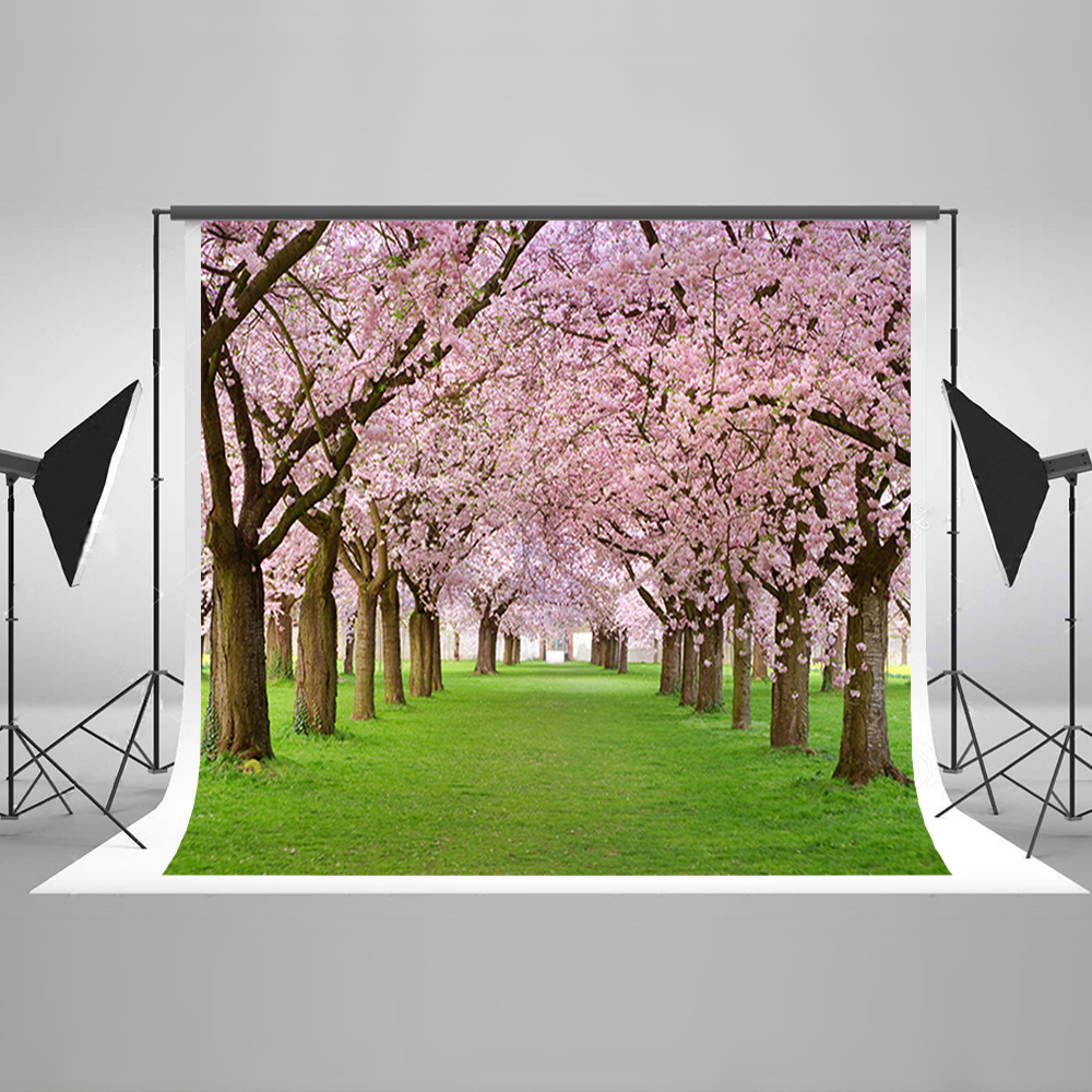 Valentine's Day Photography Background Green Meadow Birthday Photo Backdrops Cherry Tree Background for Photographic Studio