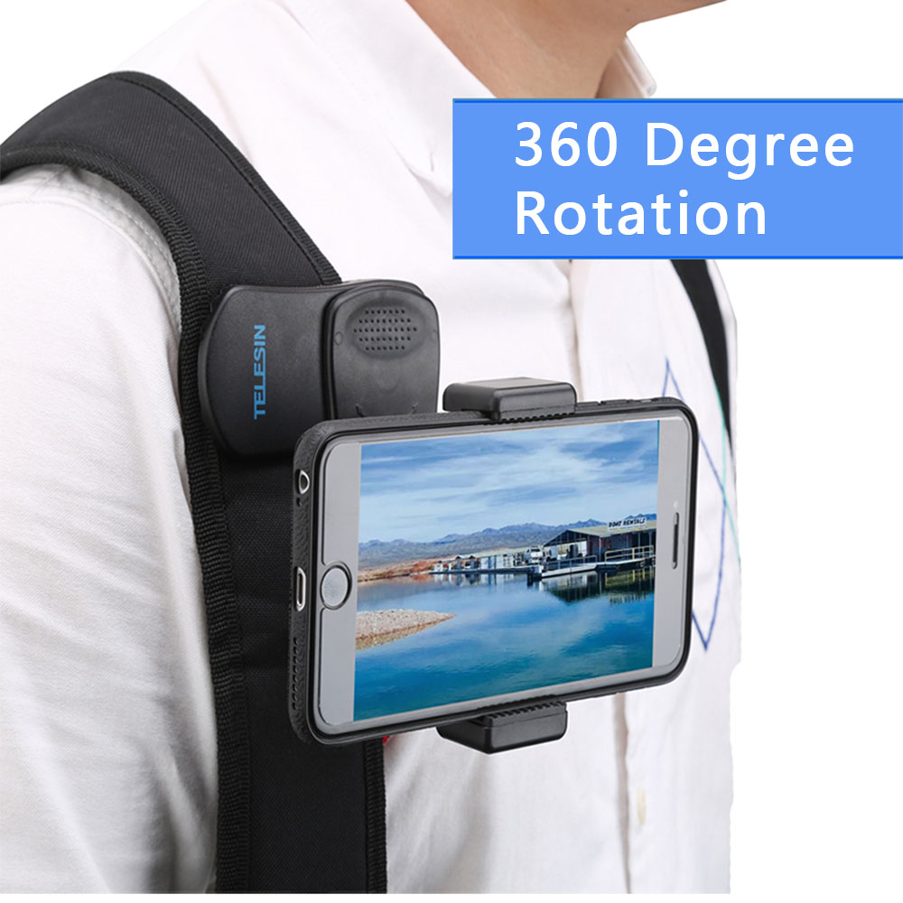 360 Degree Rotary Backpack Clamp Mount For GoPro Hero 7 6 5 xiaomi yi Iphone All 3 5-6 8 Inch Cell phone live video Accessories