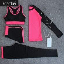 faerdasi 4 in 1 Sport Costumes for women Yoga suit Sports bra Long sleeve t shirt Running Sport Legging Pants Quick dry Yoga Set