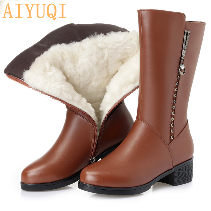 AIYUQI Female boots genuine leather 2019 winter Australia wool boots big size shiny trend motorcycle boots