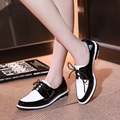 2017 Chegam Novas de Couro Sapatos de Mulher Estilo Britânico Sapatos Oxford Para As Mulheres Sapatas da Mola Plana Calcanhar Quadrado