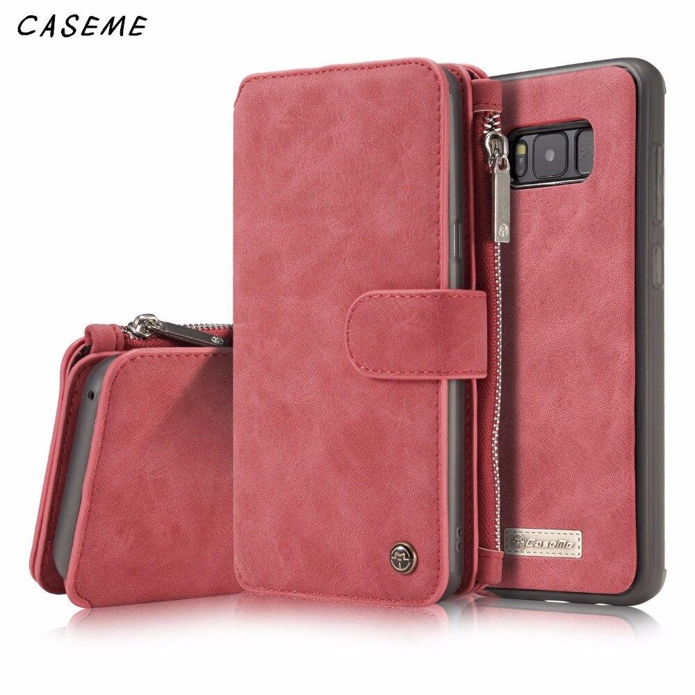 Caseme бренд для Samsung Galaxy S8/S8 плюс кожаный чехол для телефона крышка съемная 2-в-1 кошелек магнит флип стент слот для карт