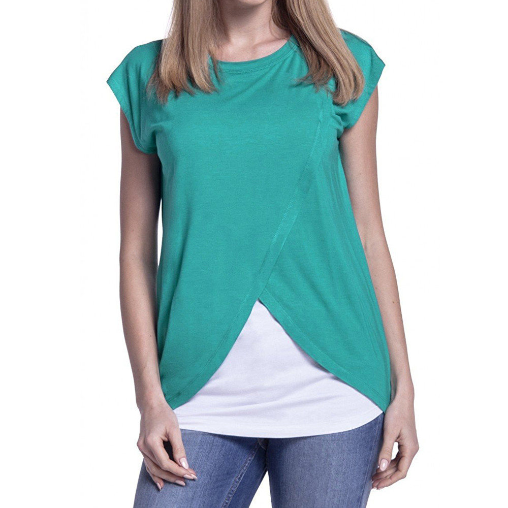 Women's Maternity Nursing Wrap Top Cap Sleeves Double Layer Blouse T Shirt Ropa Premama Embarazadas Maternity Pregnancy T Shirt