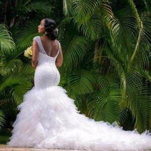 Image 2 - 2020 New African Style Amazing Heavy Handwork Beads Stunning Ruffles Mermaid Wedding Dress