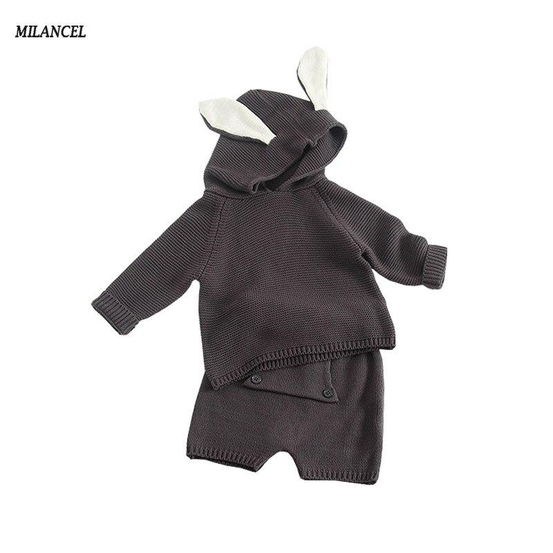 Milancel 2017 New Girls Sweater Set Rabbit Ear Sweater Knitted Harem Pants 2 Pcs Set for Boy Children Spring Autumn Clothing Set