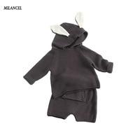 Milancel 2017 New Girls Sweater Set Rabbit Ear Sweater Knitted Harem Pants 2 Pcs Set For