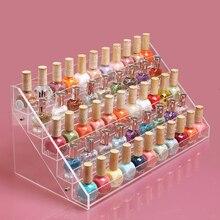 Transparente esmalte de uñas de acrílico del soporte de exhibición cosmética de uñas exposición tienda estante del organizador del maquillaje de almacenamiento en rack envío gratis