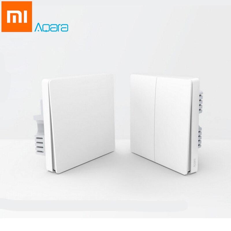 Original Xiao mi Aqara Smart Licht Control Feuer Draht Null Linie ZiGBee Doppel Einzigen Schlüssel Wand Schalter Version mi Hause APP Control