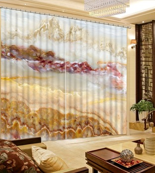 Photo 3D Curtains for Living Room Window marble 3d curtains