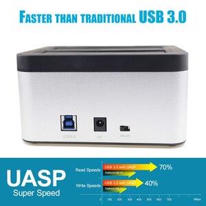 Image 3 - 3.0 인치 2.5 인치 HDD SSD 용 오프라인 클론 기능이있는 SATA 외장형 하드 드라이브 도킹 스테이션에 알루미늄 듀얼 베이 USB 3.5