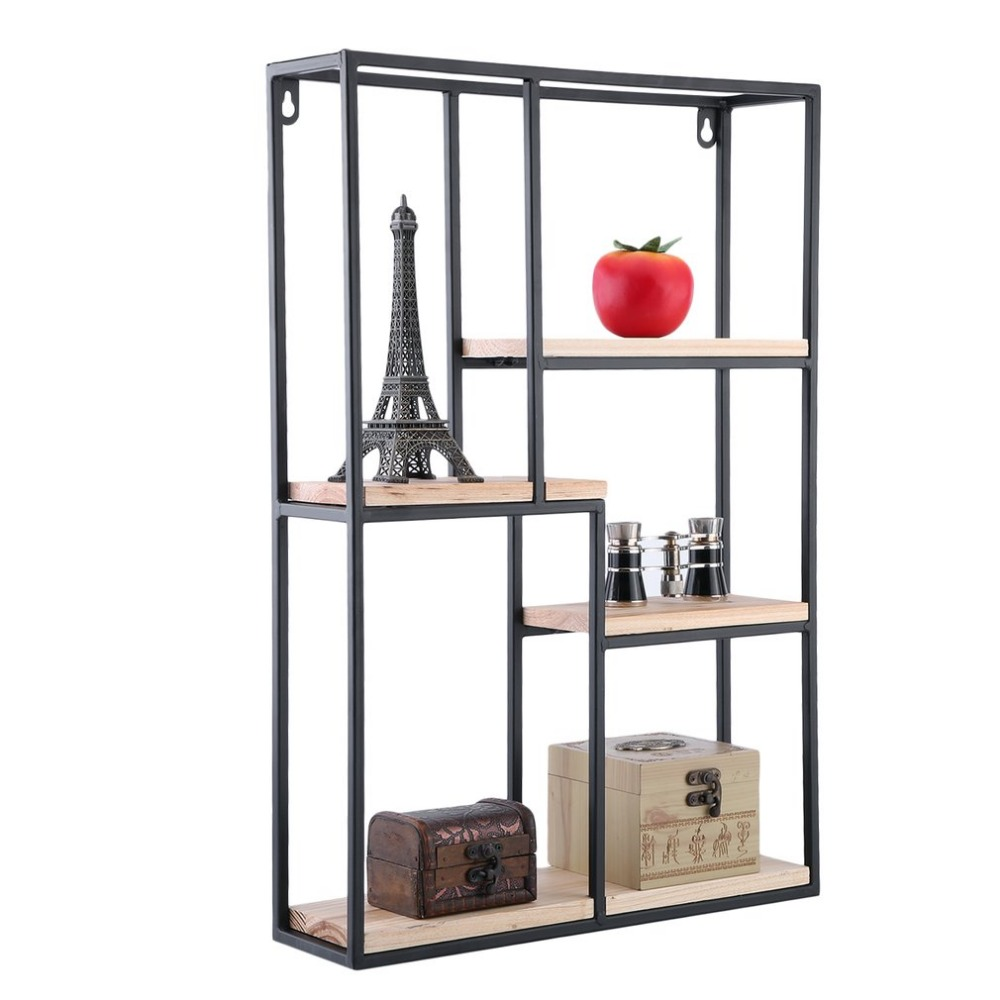Rectangle Wall Storage Shelf Exquisite Home Organizer Book Holder Wall Mounted Display Unit Fashion Storage Rack wooden struction leather floor magazine book exhibition rack shelf organizer holder croco brown 230a