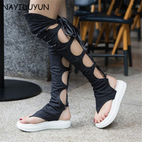 NAYIDUYUN New Women Canvas Back Lace Up Knee High Gladiator Thong Sandals Wedge Med Heels Summer Party Pumps Casual Shoes