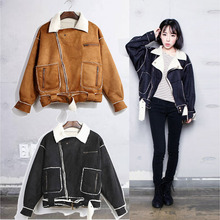Winter Wool Motorcycle Suede Padded Jacket Female Short Jacket Coats Women Warm Parka Coats Outwear Clothing