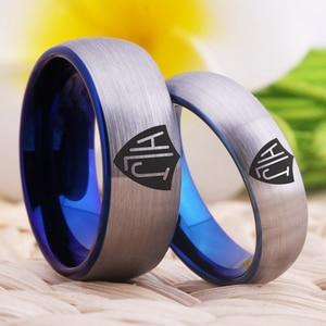 Image 4 - YGK Brand 8mm/6mm Matte Silver outside Blue inside Tungsten Carbide Ring Spanish CTR Ring HLJ Design Ring