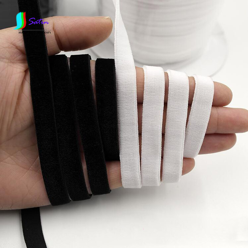 1CM/10MM Width White And Black Single-sided Velvet Elastic Band,Sewing DIY Material Underwear Bra Elastic Shoulder Strap S0231L