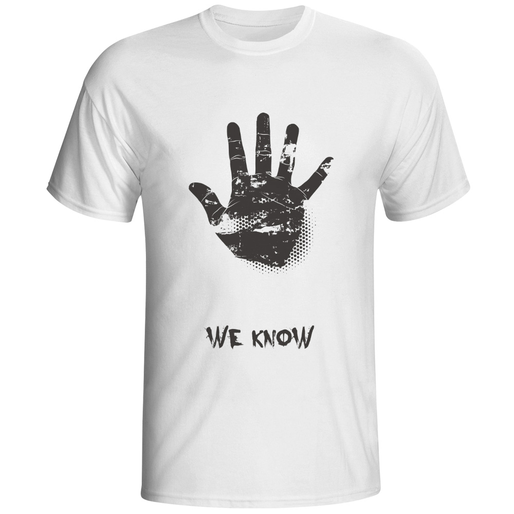 We Know You Hand Paint Desgined T-shirt Style Skate Punk 3d Print T Shirt Fashion Boys Men Top Tee Dropship Popular White Shirt