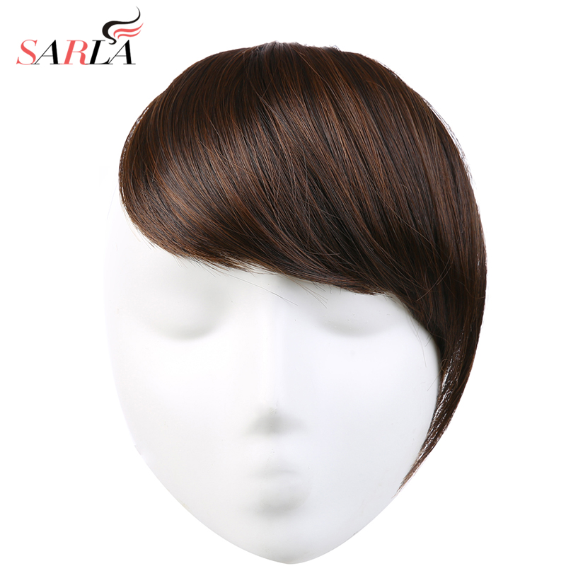 SARLA Hair Bangs Clip In Sweeping Side Fringe Fake False Bang Extensions Natural Synthetic Hairpiece Hair Piece Black Brown B2