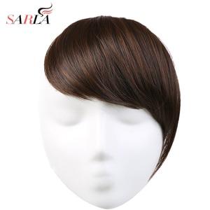 SARLA Hair Bangs Clip in Sweeping Side Fringe Fake False Bang Extensions Natural Synthetic Hairpiece Hair Piece Black Brown B2(China)