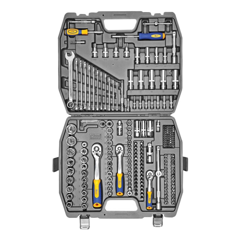 Set hand tool KRAFT CT 700684 (218 items, end head, extension cords, Keys combined the case) цена в Москве и Питере