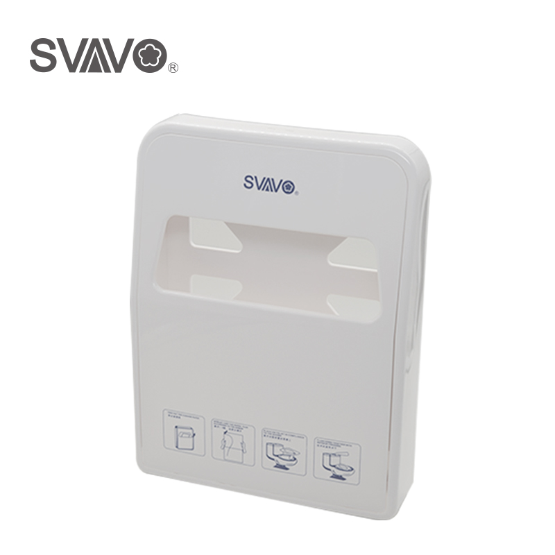 SVAVO ABS Plastic Wall Mounted Toilet Seat Cover Paper Dispenser 1/4 Toilet Seat Pad Paper Holder x 3309 v folded paper dispenser abs plastic wall mounted paper holder home hotel toilet paper box