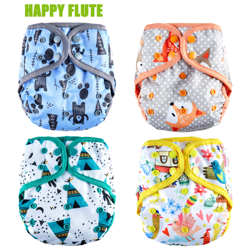 Happy Flute Diaper Cover + Insert Double Gussets Cloth Diaper Reusable Breathable Baby Diapers Fit 3-15kg Baby