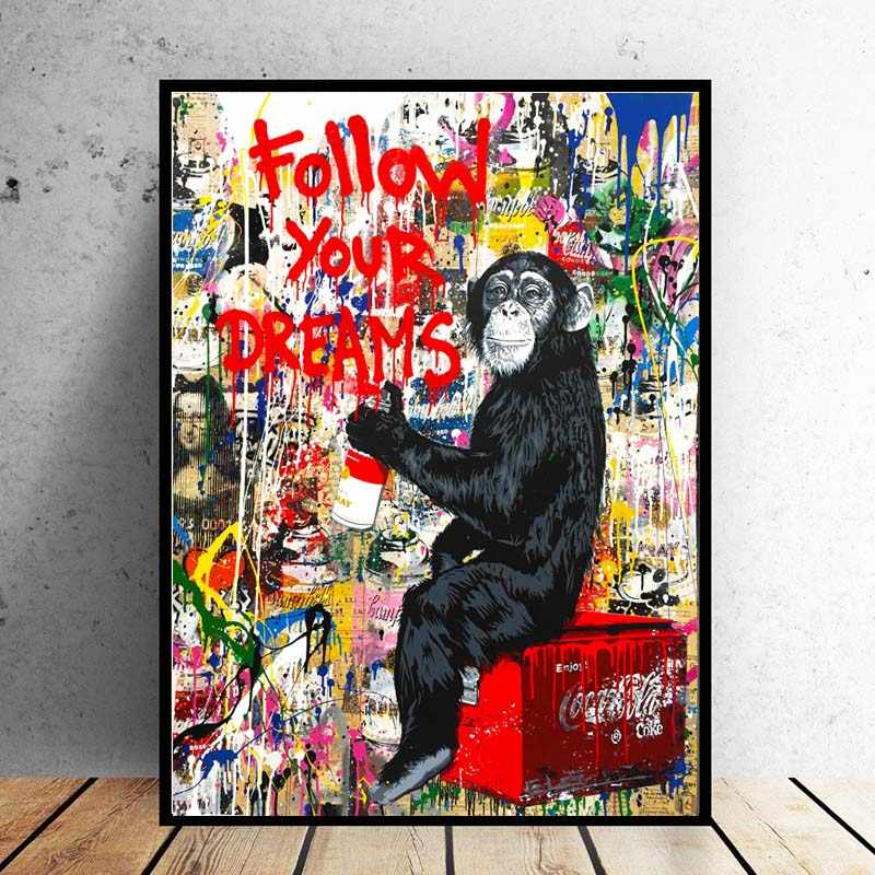 RELIABLI ART Wall Art PosterS Follow Your Dreams Monkey Pictures Gorilla Canvas Painting For Living Room Animal Art No Frame