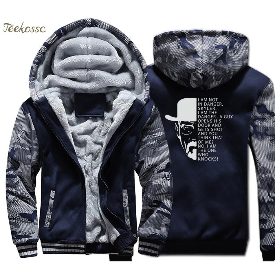 Breaking Bad Hoodie Men Heisenberg Danger Swag Sweatshirt Coat Winter Thick Fleece Warm Camouflage Walter White Cook Jacket Mens