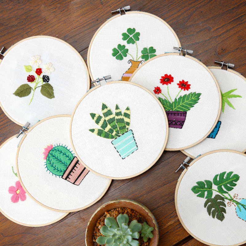 1 satz Neue Stickerei DIY Manuelle Anfänger Anfänger Produktion Drei-Dimensional Tuch Kreative Stickerei Blume Mit Rahmen