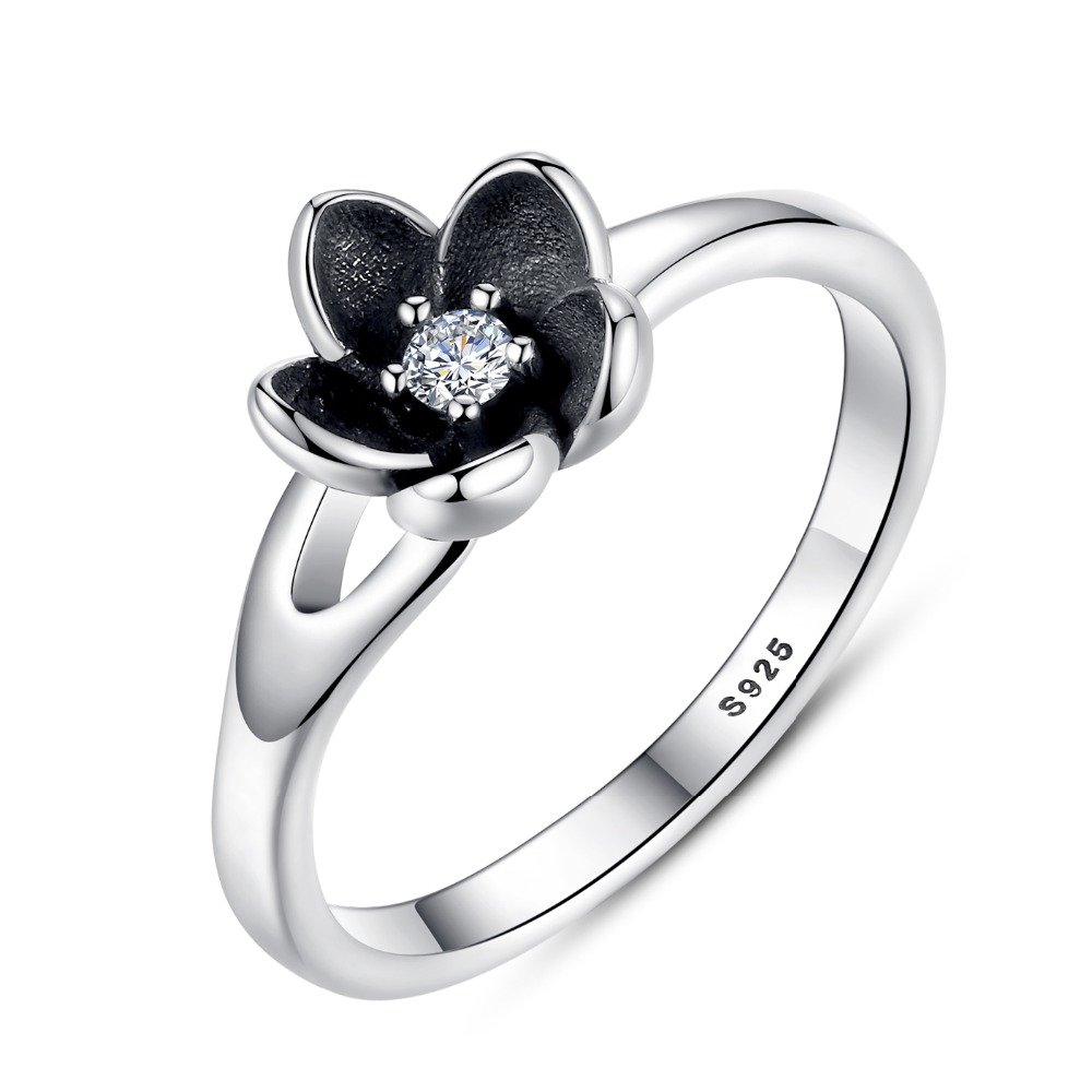 VOROCO HOT VERKOOP Bloemen Bloem Zilveren Ring Voor Vrouw Clear CZ Ronde Steen Vrouwelijke Ringen 925 Sterling Zilveren Sieraden anillos P7154
