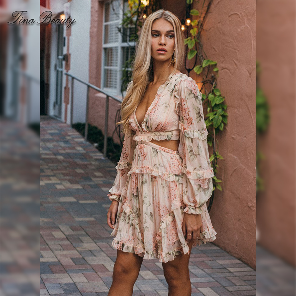 f0bb8bca5a Detail Feedback Questions about Tina Beauty Sexy Cut Out V Neck Boho Beach  Dress Floral Frilled Vacation Backless Lace Up Print Lantern Sleeve Mini  Dress on ...