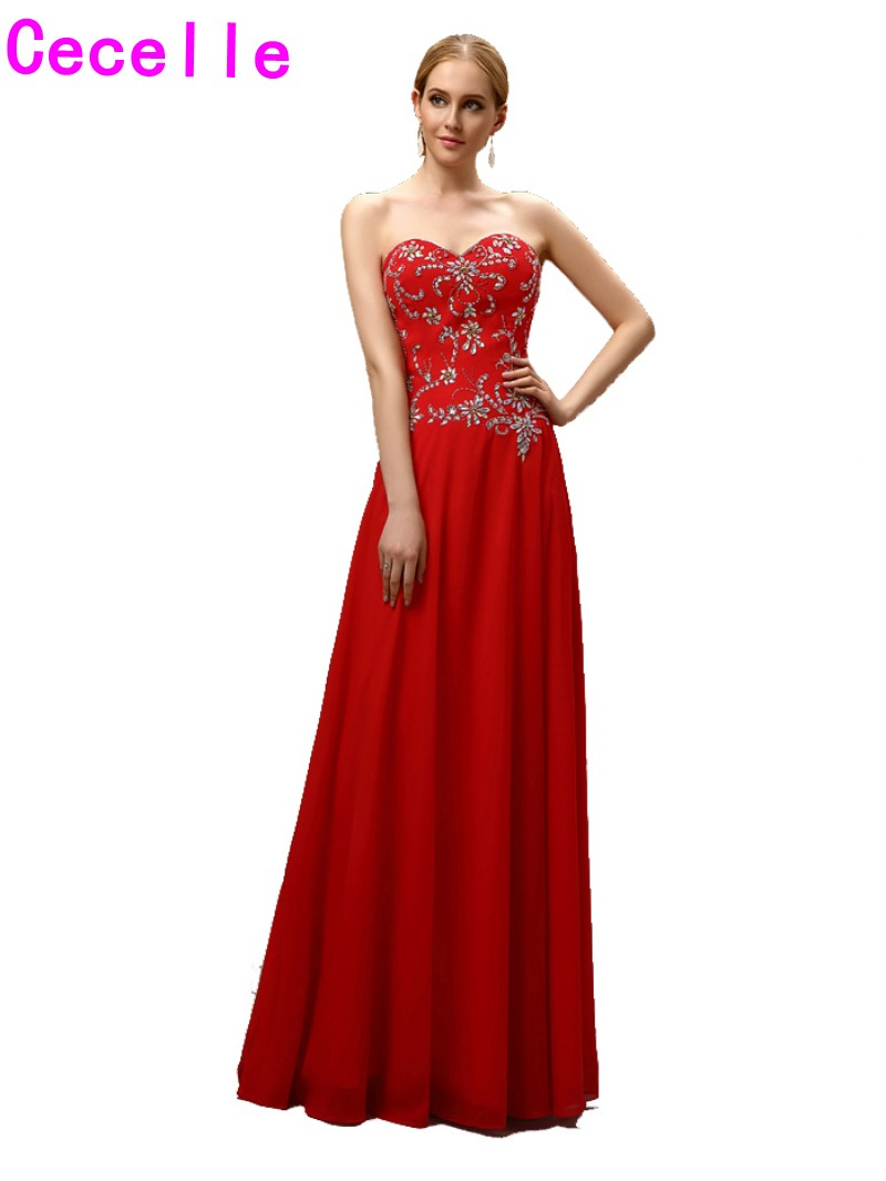 2017Sparkle Long A-line Red Floor Length Beading Chiffon Mother Of The Bride Dresses Wit ...