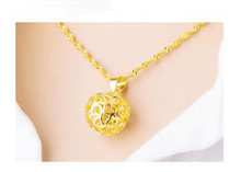 10 Simulation Gold Three-dimensional Love heart Apple Pendant Necklace High Imitation hollow Geometric Round Neckl