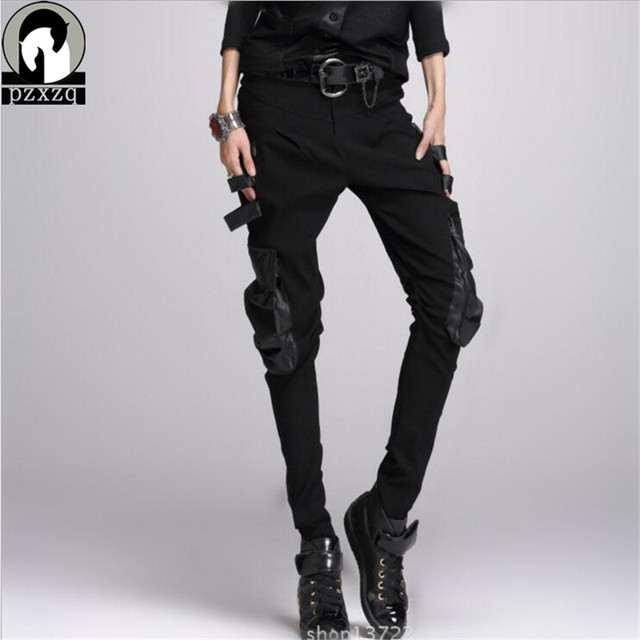 spring 2019 New Haren Pants Fashion Corea Women's Slim Punk Pu Leather Black Spliced Printed Elastic Pencil Pants Harem Trousers