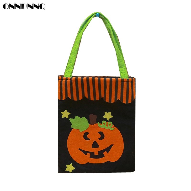 ONNPNNQ Halloween Nonwovens Handbag ToTe Bags Applique Candy Pumpkin Gift Bag Childrens Kids Party Loot Trick Treats