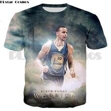 PLstar Cosmos Mens Summer Fashion Camiseta Warriors Curry 3d T-shirt Men Super Star Stephen Printed T shirts Tops
