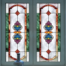 European Church Art Glass Film Stained Window Opaque Sticker Self Adhesive/Static Cling Decor Privacy do custom size B1014