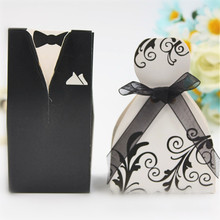 50pc Bride + Groom Wedding Favors Gift Elegant Candy Boxes For Sweet Bag Guest Dresses Party Decoration