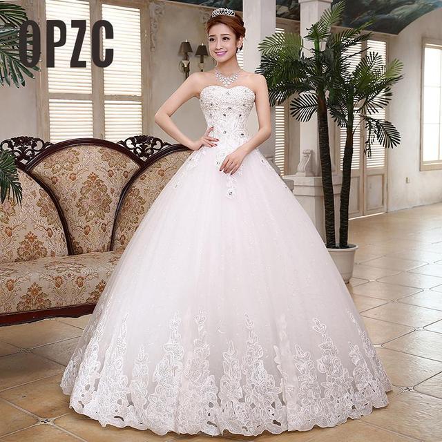 Niñas Diamante de lujo a line vestido de novia 2018 simple moderna ...