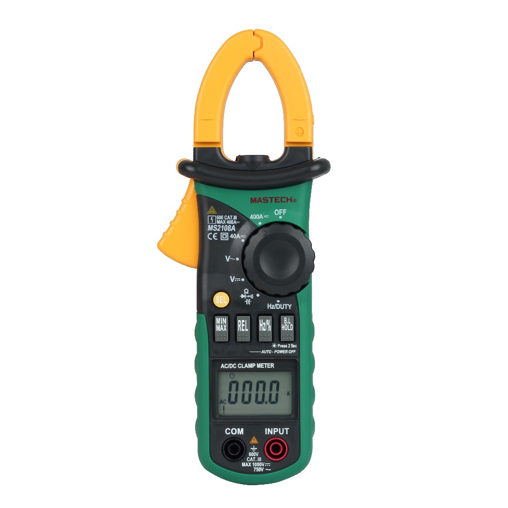 MASTECH MS2108A Digital Clamp Multimeter Frequency Max./Min.Value Measurement Holding Lighting Bulb Carrying Bag ms max v12a